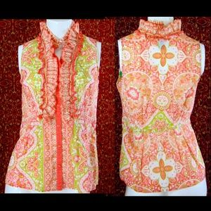 WILLI SMITH Orange cotton paisley blouse M